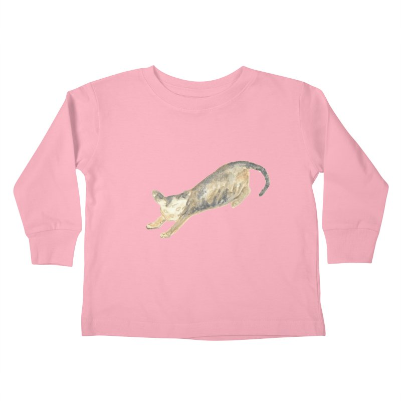 Cat Stretching Orange Grey Sphynx Watercolor Kids Toddler Longsleeve T-Shirt by The Wilderness Store