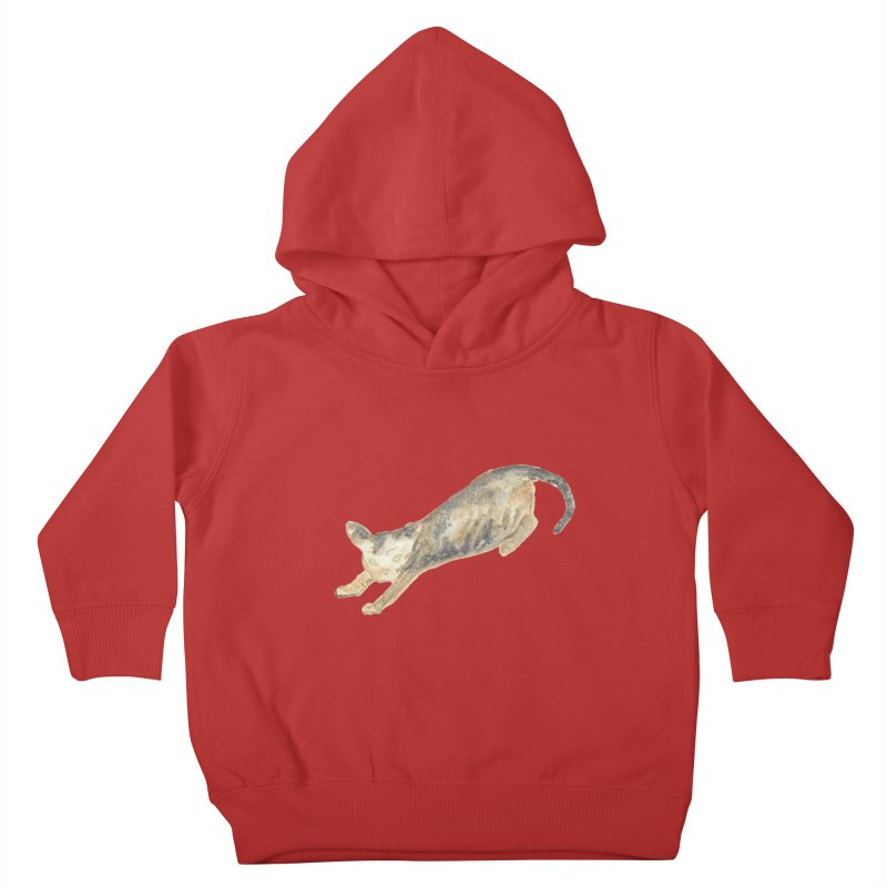 Cat Stretching Orange Grey Sphynx Watercolor Kids Toddler Pullover Hoody by The Wilderness Store