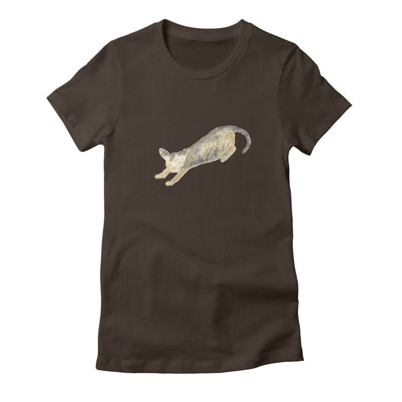 Cat Stretching Orange Grey Sphynx Watercolor Women's T-Shirt by The Wilderness Store