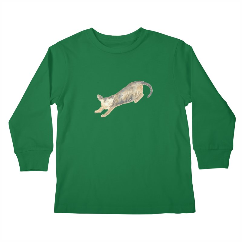 Cat Stretching Orange Grey Sphynx Watercolor Kids Longsleeve T-Shirt by The Wilderness Store