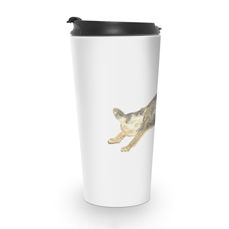 Cat Stretching Orange Grey Sphynx Watercolor Accessories Travel Mug by The Wilderness Store