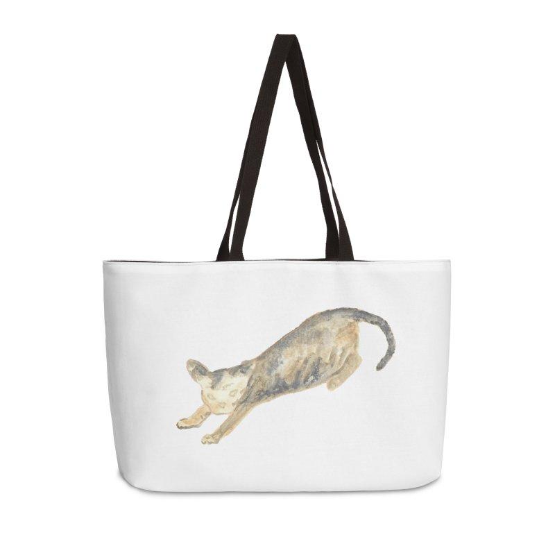 Cat Stretching Orange Grey Sphynx Watercolor Accessories Weekender Bag Bag by The Wilderness Store