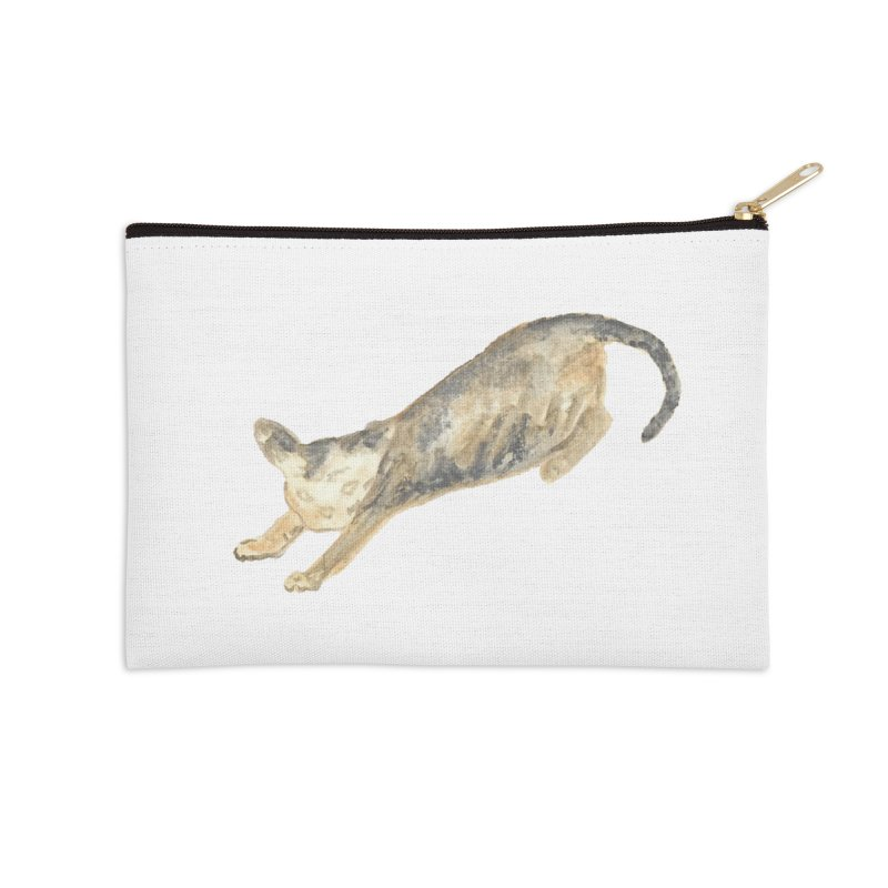 Cat Stretching Orange Grey Sphynx Watercolor Accessories Zip Pouch by The Wilderness Store