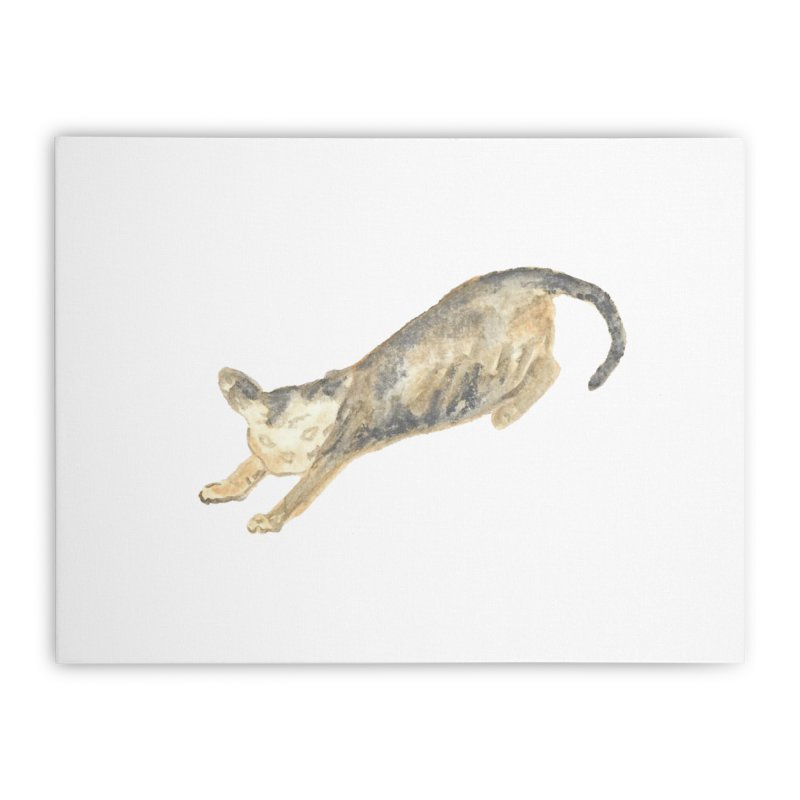 Cat Stretching Orange Grey Sphynx Watercolor Home Stretched Canvas by The Wilderness Store