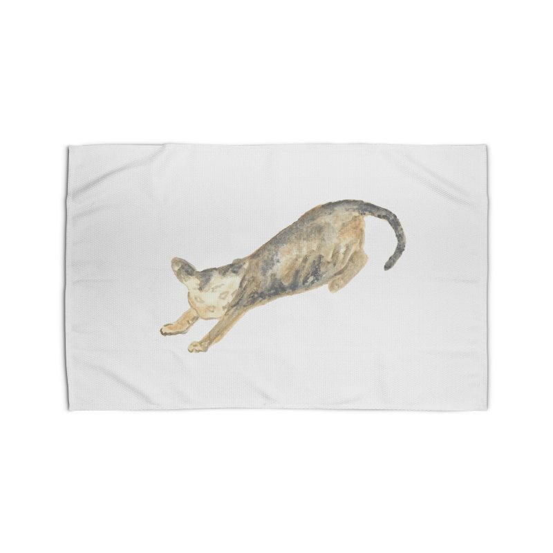 Cat Stretching Orange Grey Sphynx Watercolor Home Rug by The Wilderness Store