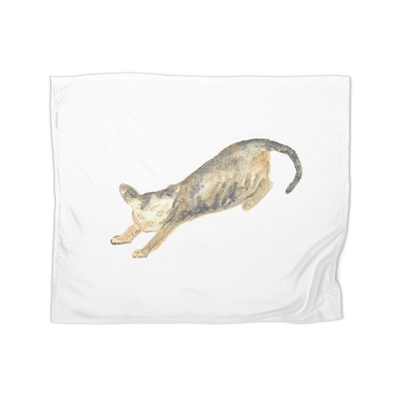 Cat Stretching Orange Grey Sphynx Watercolor Home Fleece Blanket Blanket by The Wilderness Store