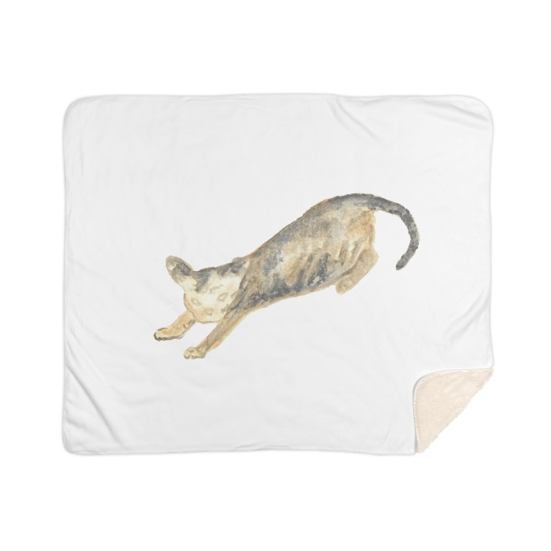 Cat Stretching Orange Grey Sphynx Watercolor Home Sherpa Blanket Blanket by The Wilderness Store