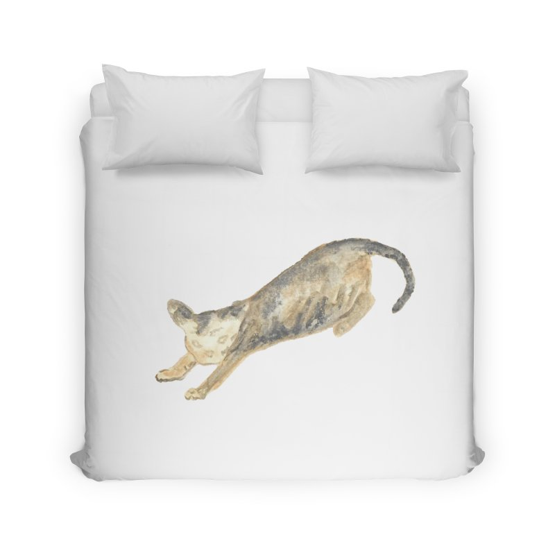 Cat Stretching Orange Grey Sphynx Watercolor Home Duvet by The Wilderness Store