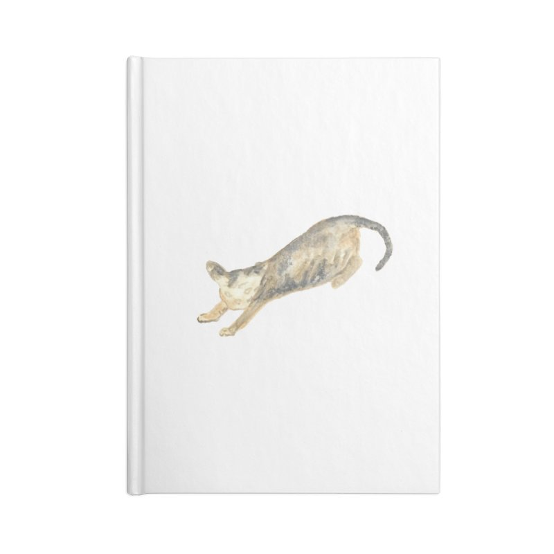 Cat Stretching Orange Grey Sphynx Watercolor Accessories Lined Journal Notebook by The Wilderness Store