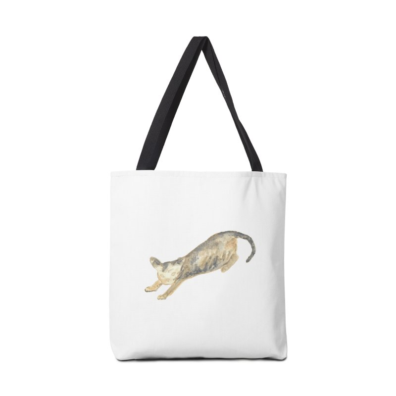 Cat Stretching Orange Grey Sphynx Watercolor Accessories Tote Bag Bag by The Wilderness Store