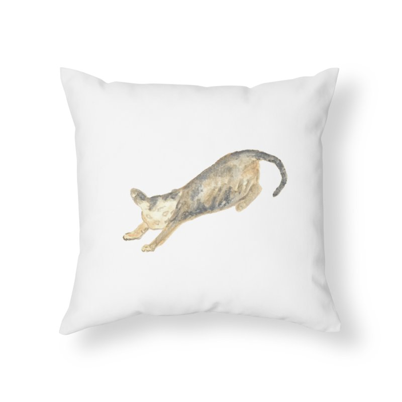 Cat Stretching Orange Grey Sphynx Watercolor Home Throw Pillow by The Wilderness Store