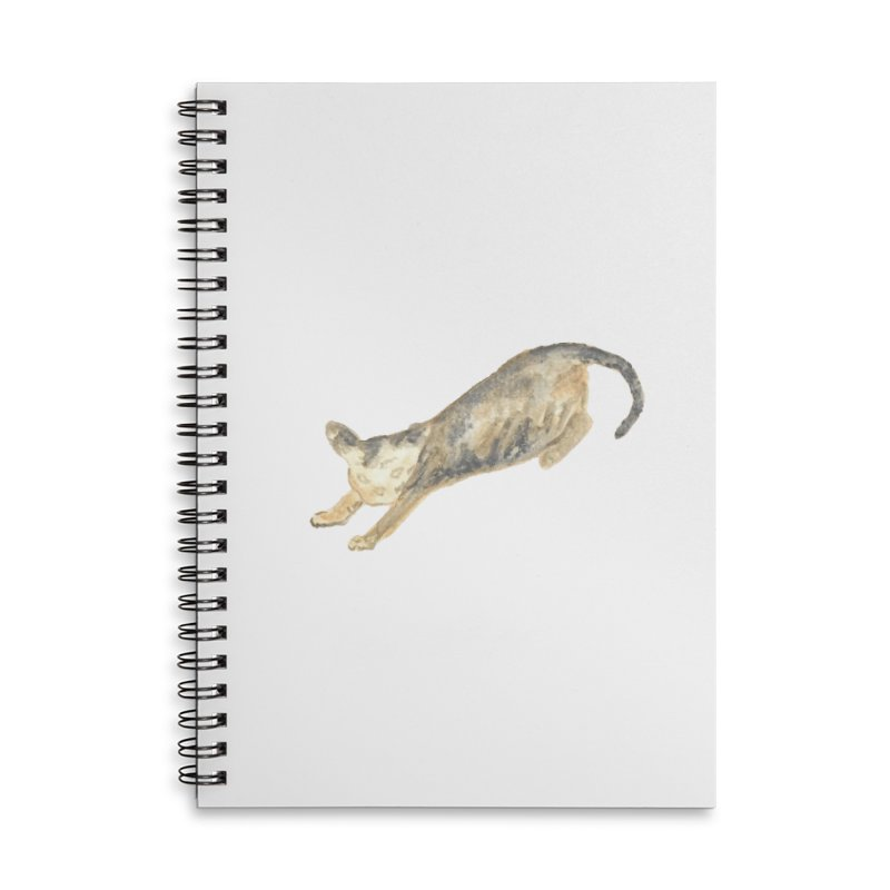 Cat Stretching Orange Grey Sphynx Watercolor Accessories Lined Spiral Notebook by The Wilderness Store