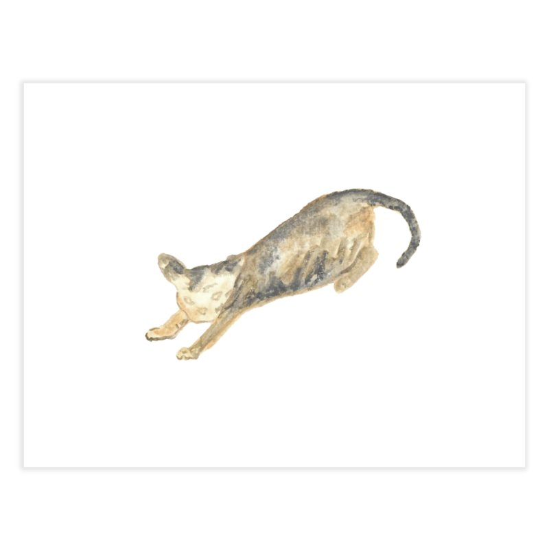 Cat Stretching Orange Grey Sphynx Watercolor Home Fine Art Print by The Wilderness Store