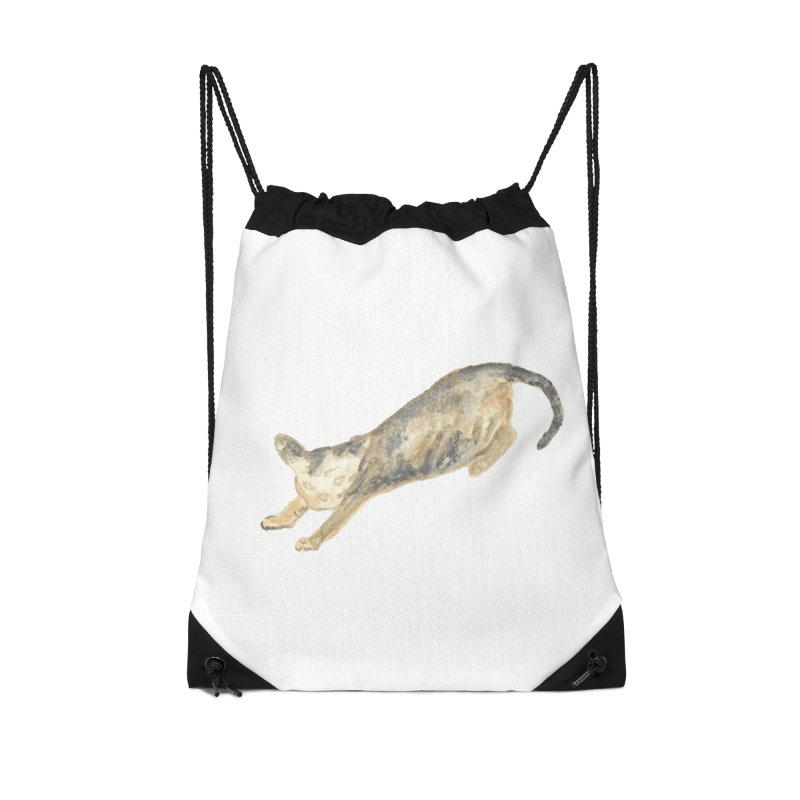 Cat Stretching Orange Grey Sphynx Watercolor Accessories Drawstring Bag Bag by The Wilderness Store