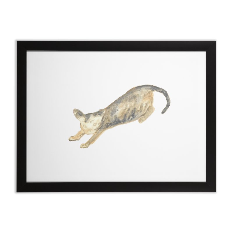 Cat Stretching Orange Grey Sphynx Watercolor Home Framed Fine Art Print by The Wilderness Store