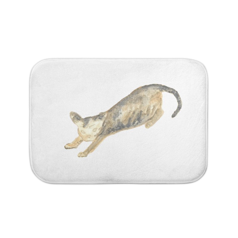 Cat Stretching Orange Grey Sphynx Watercolor Home Bath Mat by The Wilderness Store