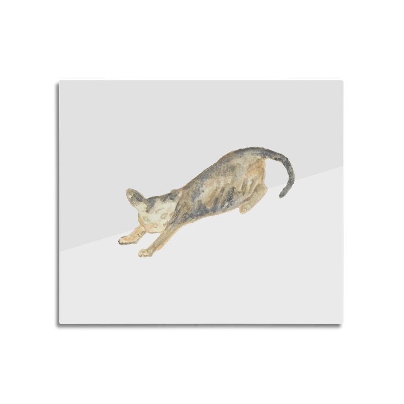 Cat Stretching Orange Grey Sphynx Watercolor Home Mounted Acrylic Print by The Wilderness Store