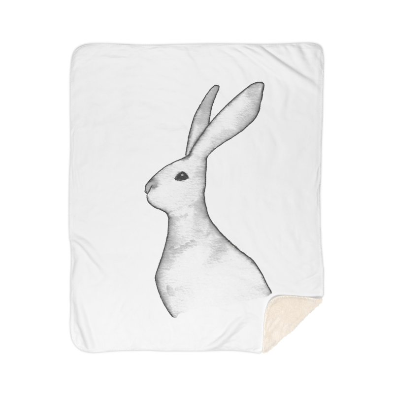 Jackrabbit in Ink Home Sherpa Blanket Blanket by The Wilderness Store