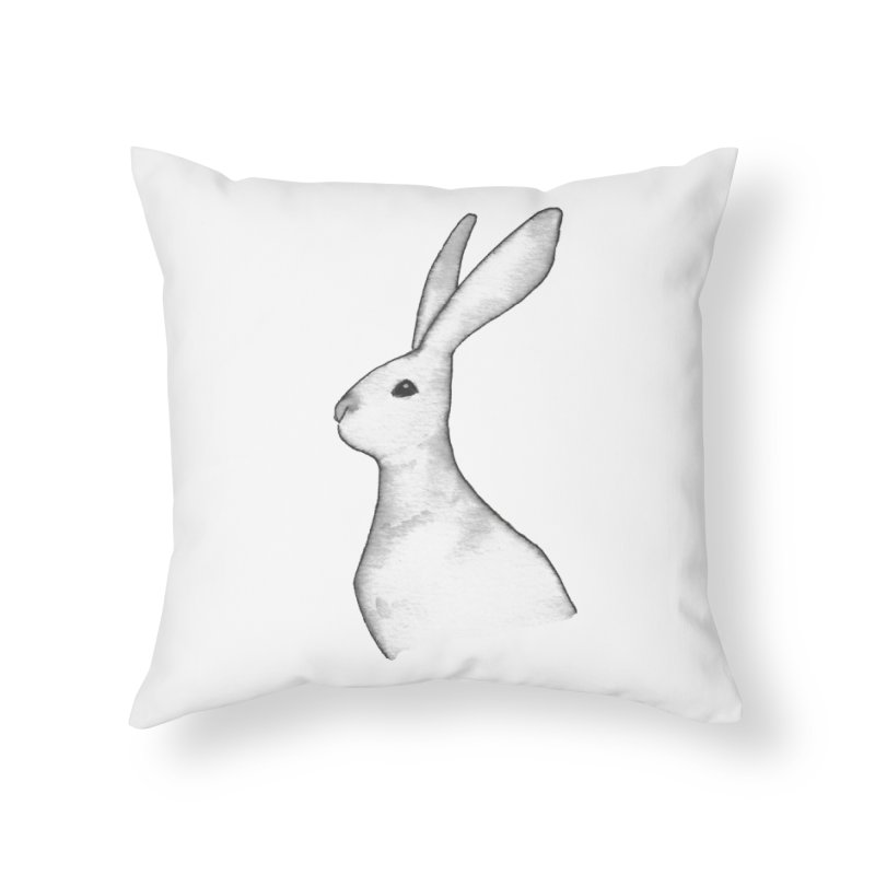 Jackrabbit in Ink Home Throw Pillow by The Wilderness Store