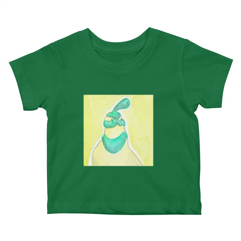 Quail in Blue, Green, Yellow Kids Baby T-Shirt by The Wilderness Store