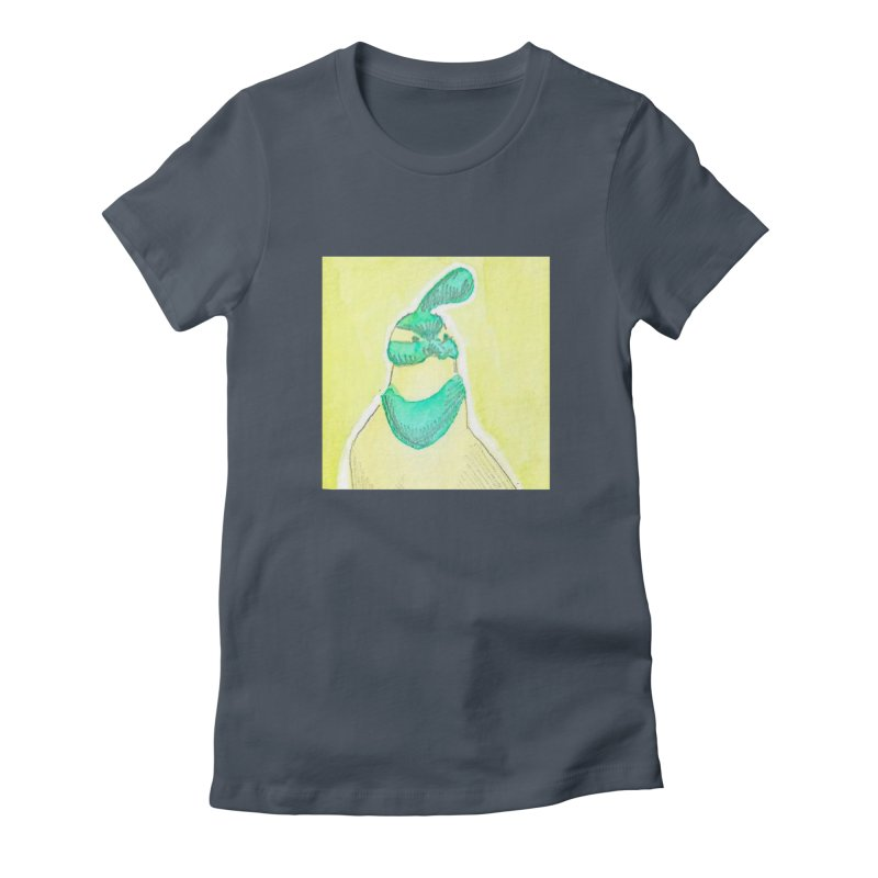 Quail in Blue, Green, Yellow Women's Fitted T-Shirt by The Wilderness Store