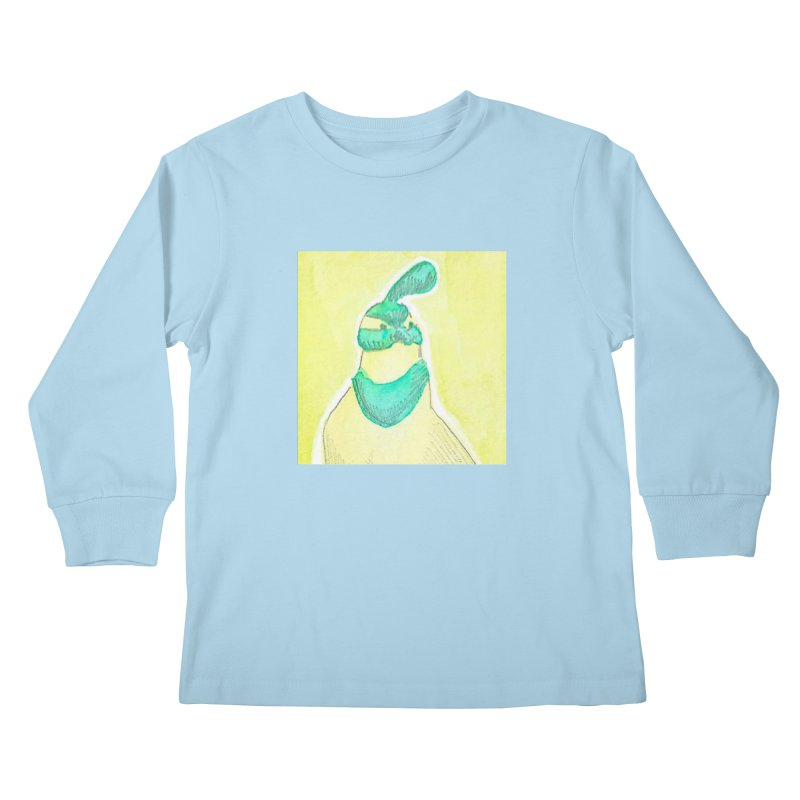 Quail in Blue, Green, Yellow Kids Longsleeve T-Shirt by The Wilderness Store