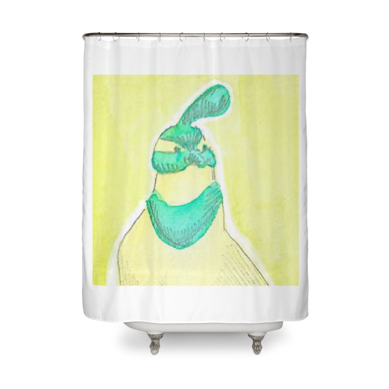 Quail in Blue, Green, Yellow Home Shower Curtain by The Wilderness Store