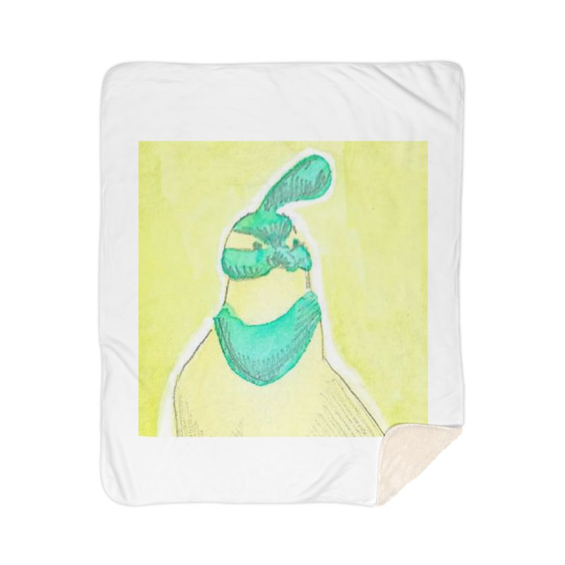 Quail in Blue, Green, Yellow Home Sherpa Blanket Blanket by The Wilderness Store