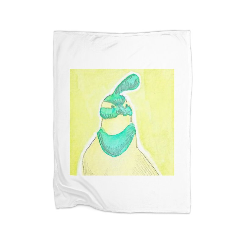 Quail in Blue, Green, Yellow Home Fleece Blanket Blanket by The Wilderness Store