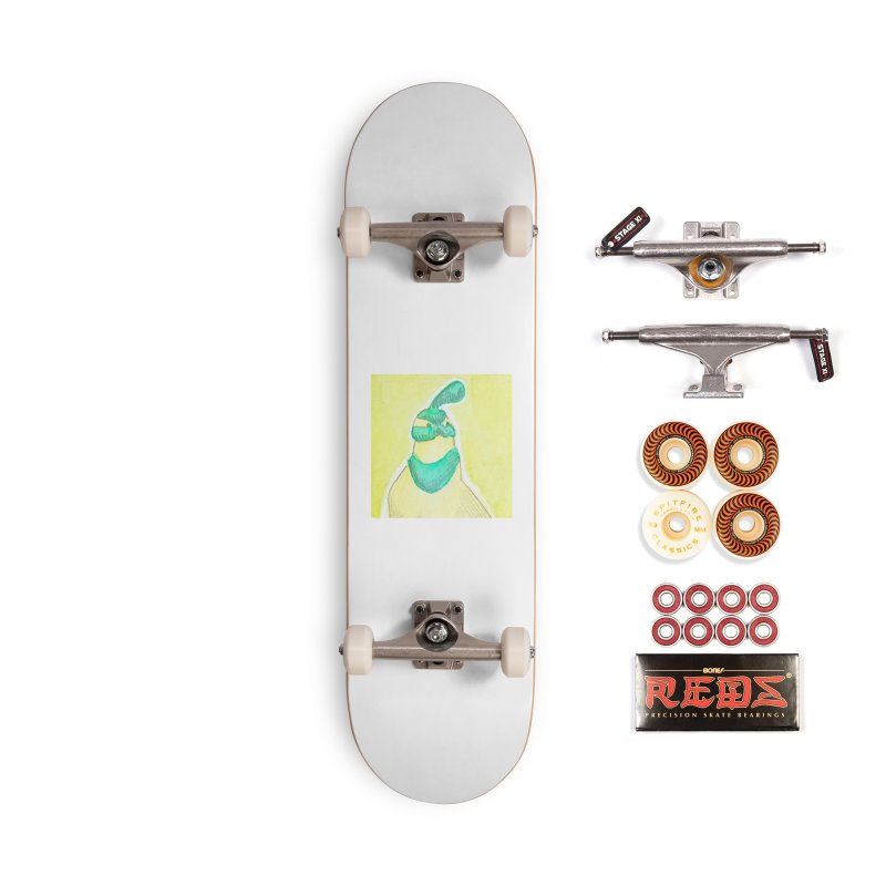 Quail in Blue, Green, Yellow Accessories Skateboard by The Wilderness Store