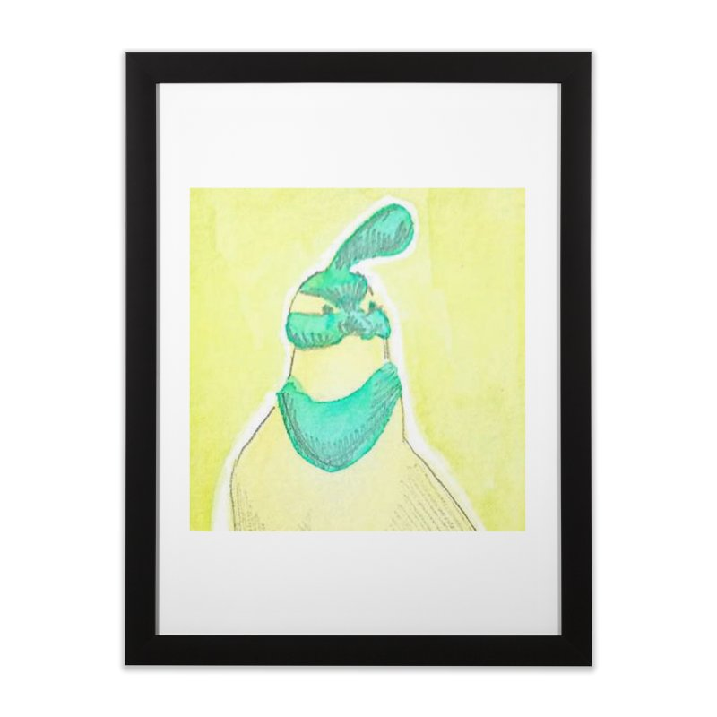 Quail in Blue, Green, Yellow Home Framed Fine Art Print by The Wilderness Store