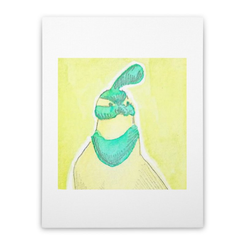 Quail in Blue, Green, Yellow Home Stretched Canvas by The Wilderness Store