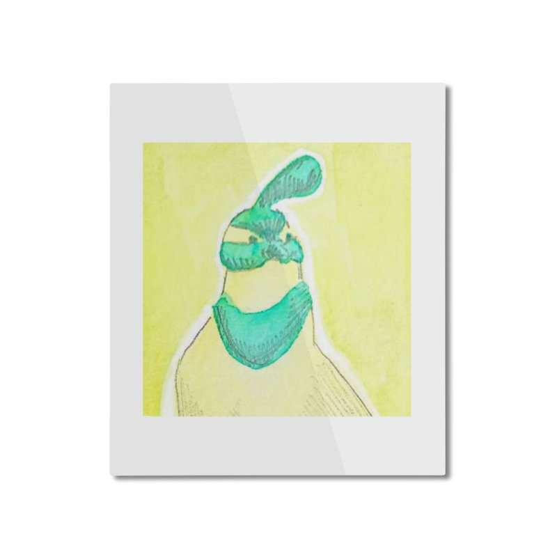 Quail in Blue, Green, Yellow Home Mounted Aluminum Print by The Wilderness Store