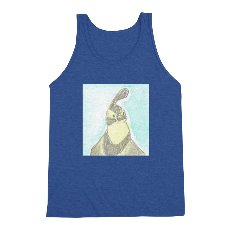 Gambel's Quail in Blue, Yellow Men's Triblend Tank by The Wilderness Store