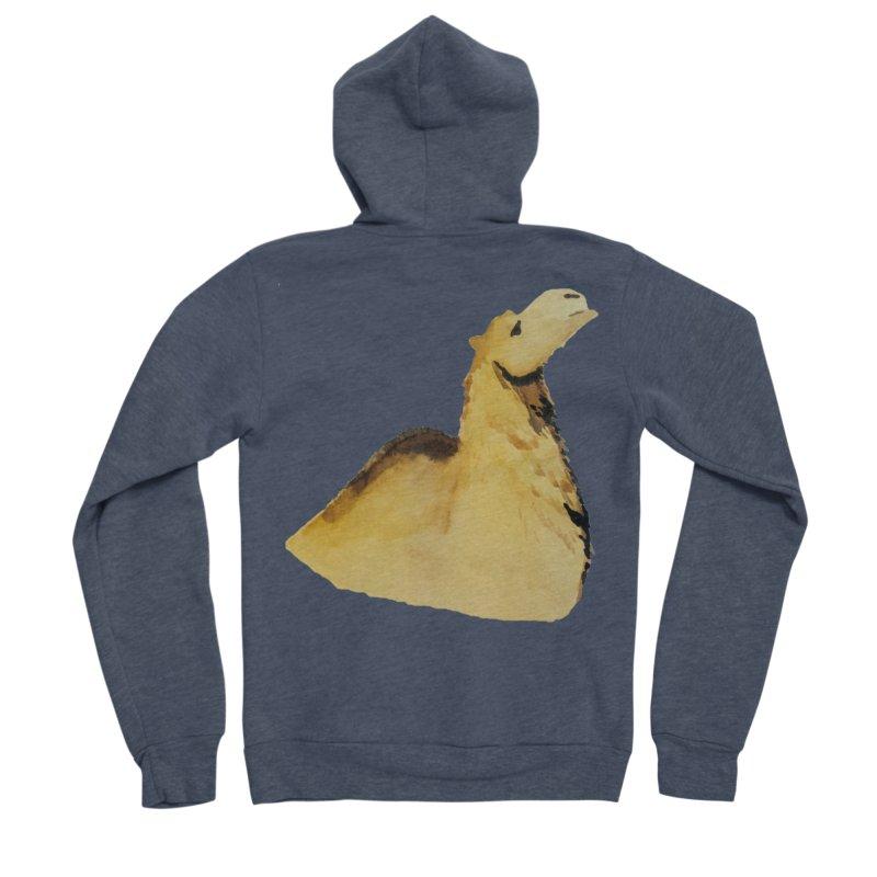 Watercolor Camel Portrait Men's Sponge Fleece Zip-Up Hoody by The Wilderness Store