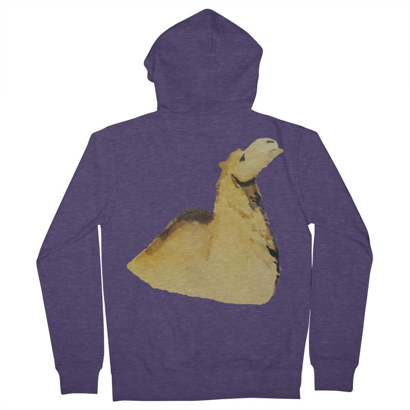 Watercolor Camel Portrait Men's French Terry Zip-Up Hoody by The Wilderness Store