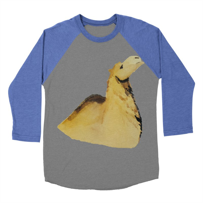 Watercolor Camel Portrait Men's Baseball Triblend Longsleeve T-Shirt by The Wilderness Store