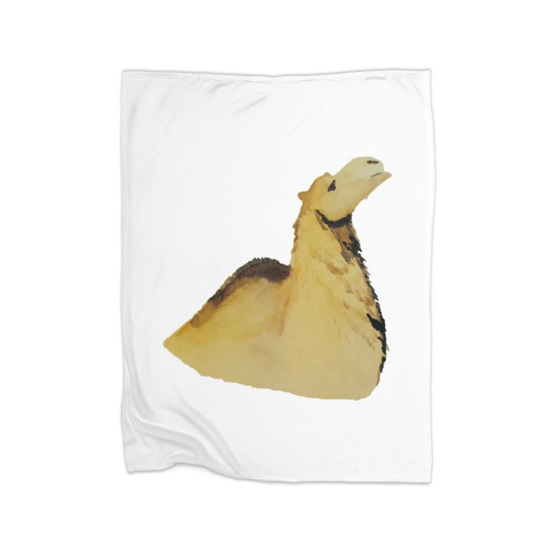 Watercolor Camel Portrait Home Fleece Blanket Blanket by The Wilderness Store