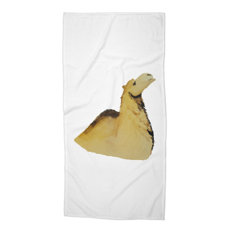 Watercolor Camel Portrait Accessories Beach Towel by The Wilderness Store