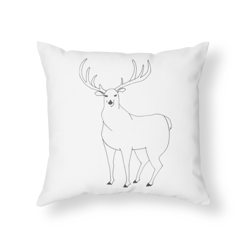 Hand-drawn Whitetail Deer Stag in Throw Pillow by The Wilderness Store