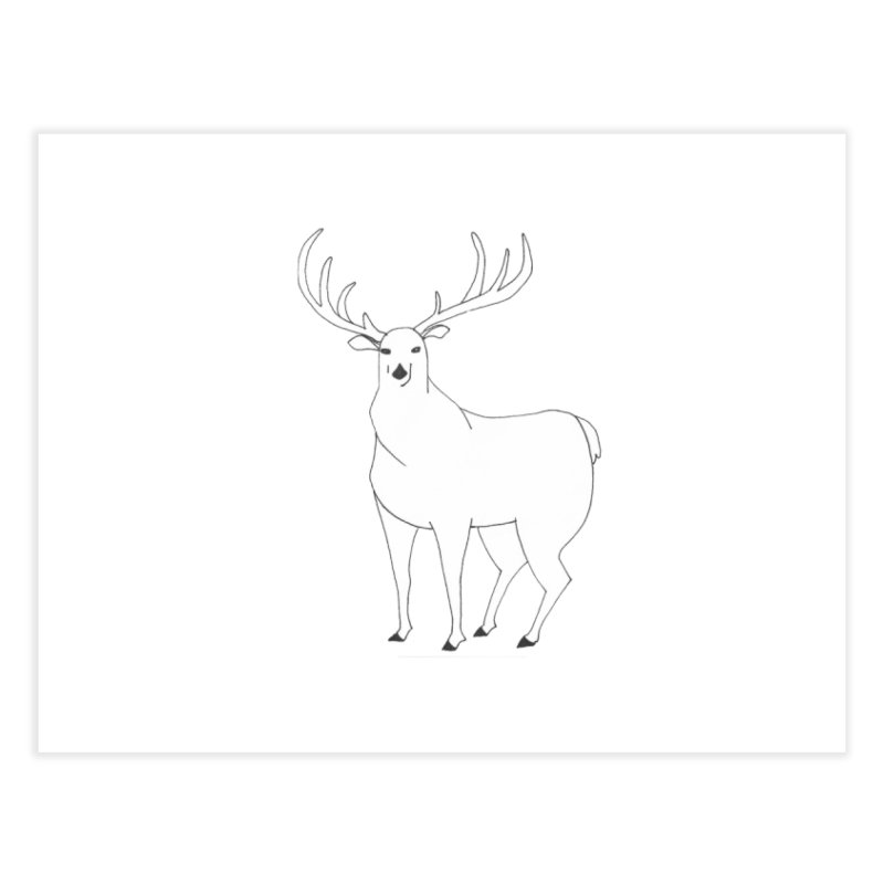 Hand-drawn Whitetail Deer Stag Home Fine Art Print by The Wilderness Store