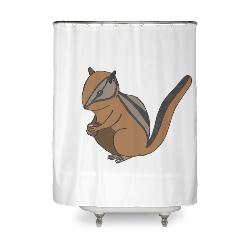 Chipmunk with Berry Home Shower Curtain by The Wilderness Store