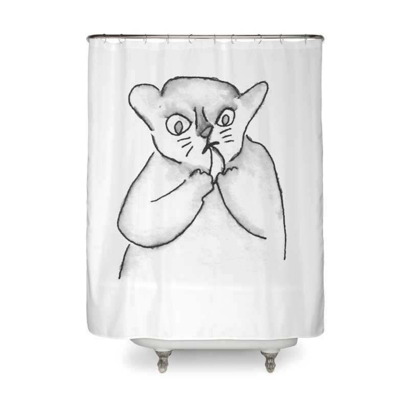 Ink Mouse Lemur with Snack Home Shower Curtain by The Wilderness Store