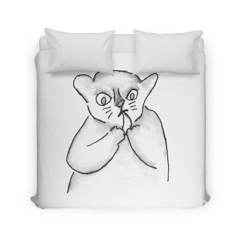 Ink Mouse Lemur with Snack Home Duvet by The Wilderness Store