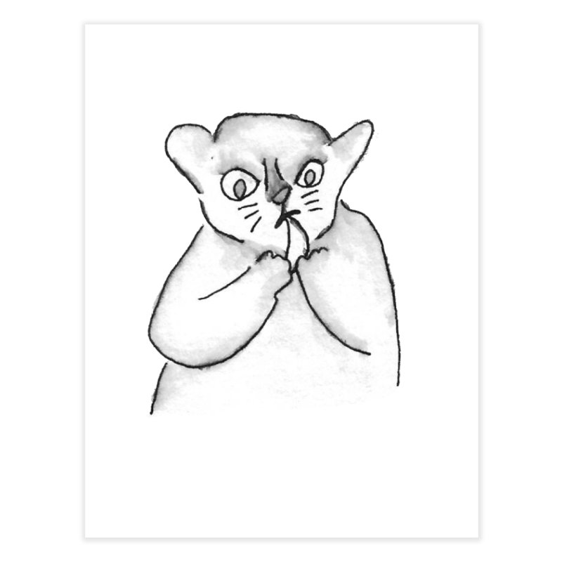 Ink Mouse Lemur with Snack Home Fine Art Print by The Wilderness Store
