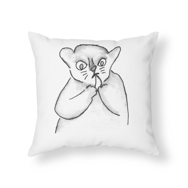Ink Mouse Lemur with Snack Home Throw Pillow by The Wilderness Store