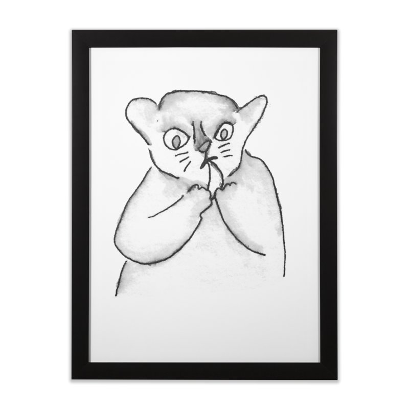 Ink Mouse Lemur with Snack Home Framed Fine Art Print by The Wilderness Store
