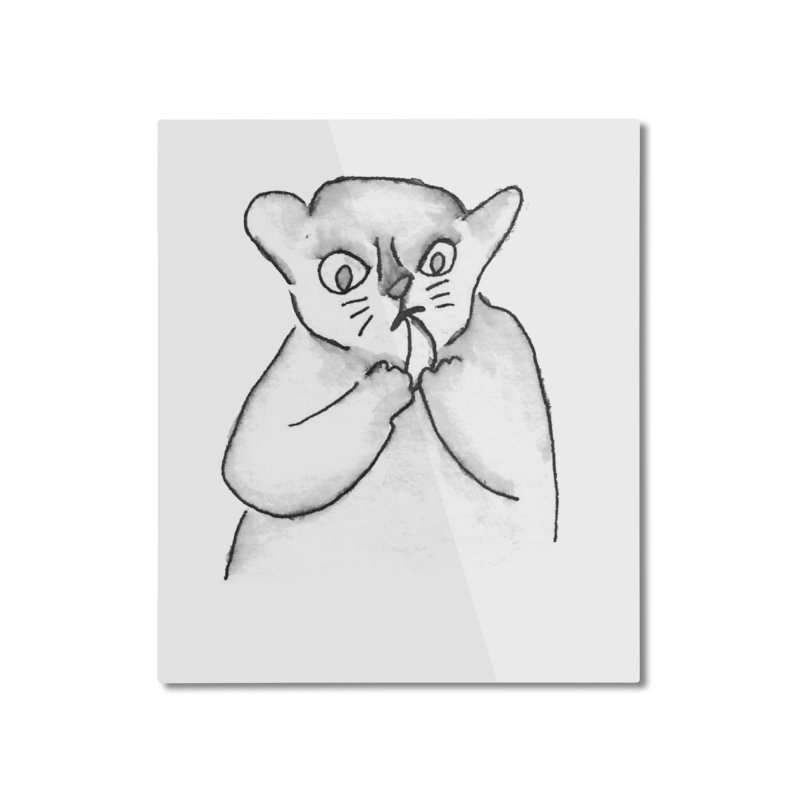 Ink Mouse Lemur with Snack Home Mounted Aluminum Print by The Wilderness Store