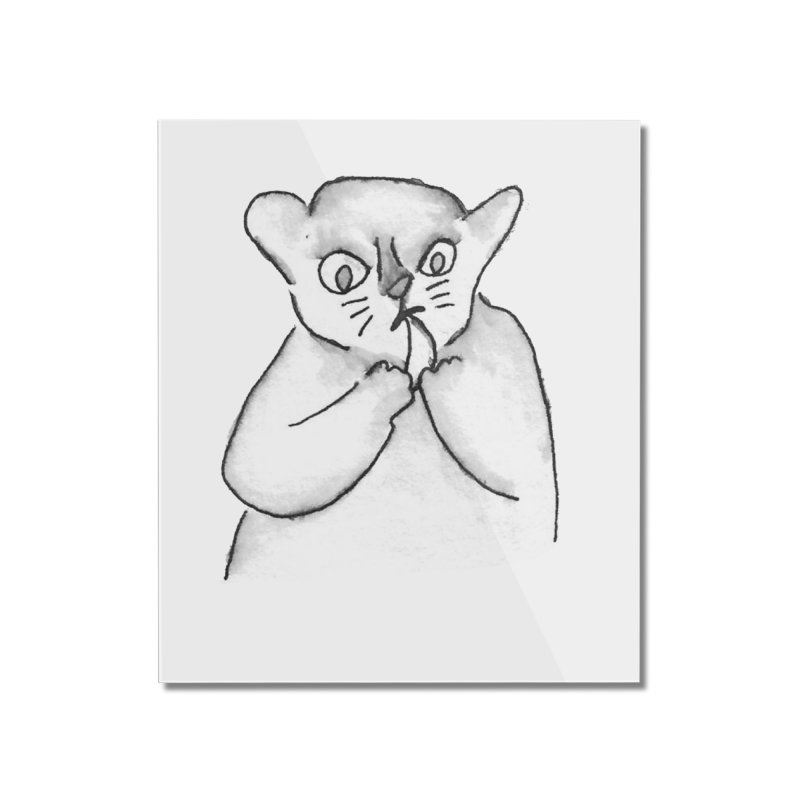 Ink Mouse Lemur with Snack Home Mounted Acrylic Print by The Wilderness Store