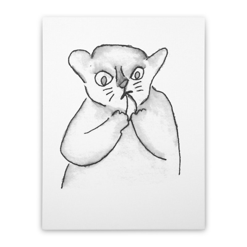 Ink Mouse Lemur with Snack Home Stretched Canvas by The Wilderness Store